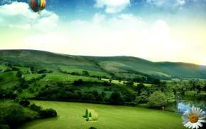 холмы, поле, воздушный шар