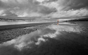 coast, black and white, clouds, girl