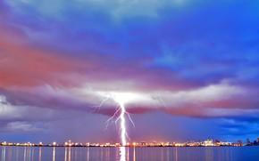 lightning, City, clouds