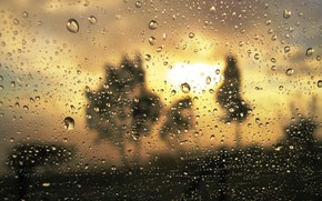 rain, drops, proximity, glass, turbidity, gold