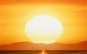 закат, солнце, дорога