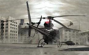 вертолет, крышка, здания