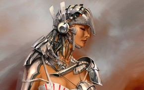 костюм, металл, рисунок, девушка