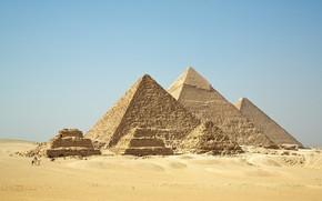 пирамиды, египет, гиза, пустыня, песок