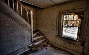 room, ladder, window, snow, ruins