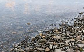 камни, берег, вода, галька