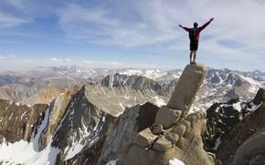 realizao, Montanhas, topo, escalada em rocha, liberdade