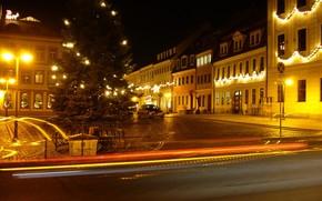 Radeberg, Germania, notte, semaforo, strada