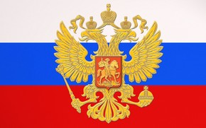 Russia, flag, tricolor, coat of arms