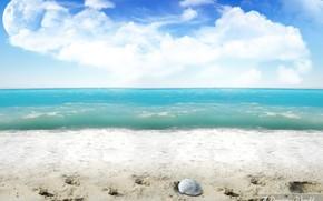 playa, arena, ondas, planeta, tratamiento