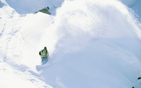 сноуборд, парень, снег