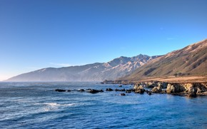 ocean, Mountains, coast, blue, California, sky, water