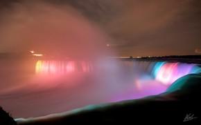 Cascate del Niagara, controluce, semaforo, notte, acqua, citt