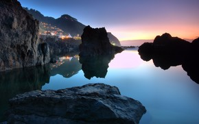 town, Portugal, ocean, stones, sky, sunset, water