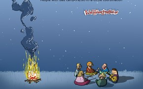picnic, fal, caricatura, umorismo