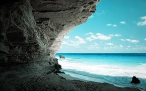 море, пляж, пещера, скала, берег