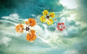 fantasy, Flowers, sky, clouds