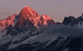 горы, рассвет, облако