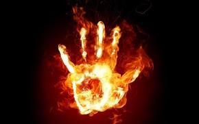 fuoco, mano, fiamma
