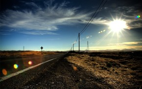 strada, prateria, sole, Pilastri