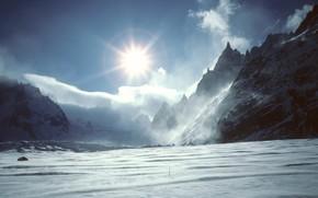 снег, горы, солнце, облака