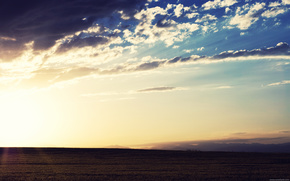 dawn, sky, sun, field