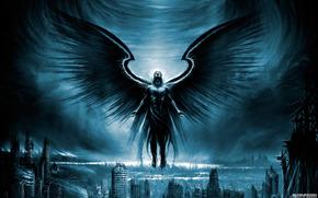 архангел, крылья, город, руины