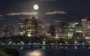 moon, night, moon, building