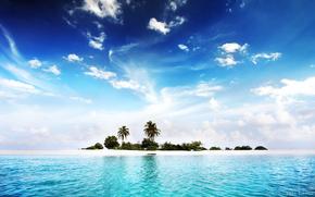 остров, пальмы, океан