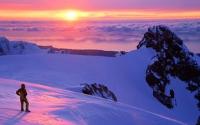 закат, горы, облака