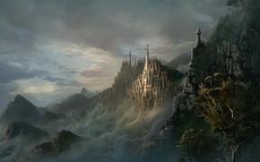 rochas, escuro, cidade, Elford