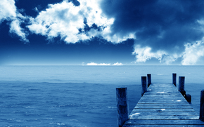 horizon, Sea, clouds, pier, blue