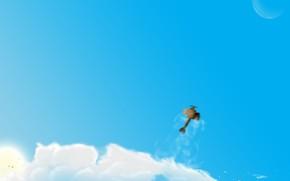plane, clouds, Figure