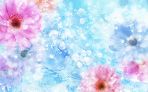 flor, gua, reflexo