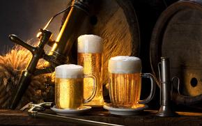 birra, schiuma, barile
