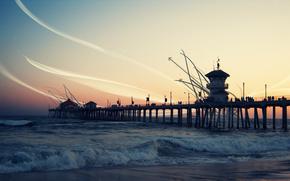 sea, sunset, waves, wharf, line, abstract
