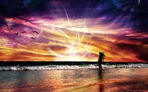 natureza, espao, paisagem, vo, abstrao, mar, ondas, menina, energia, brilhante, pr do sol, vermelho