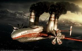 самолет, трубы, дым
