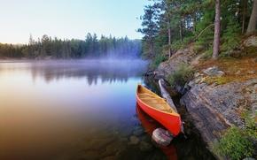 barca, lago, natura