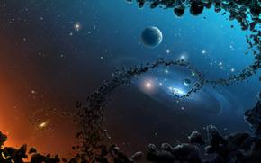 Espace, galaxie, plante
