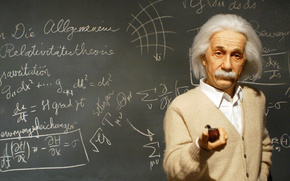 альберт эйнштейн, физик, великие люди, доска, мел