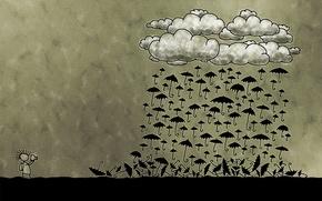 дождь, тучи, зонтик