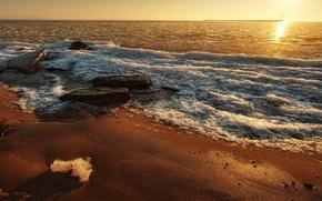 sunset, sun, sea, beach