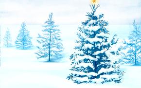 новый год, ёлка, лес, украшения, праздник