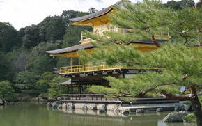 pagoda, palace, forest, east, water