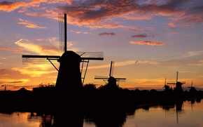 Mills, evening, sunset, reflection, Netherlands