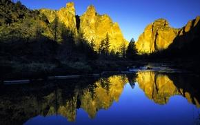 горы, озеро, деревья, рассвет, утро