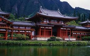 pagoda, pond, panorama