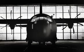 самолет, черно-белая, пропеллер