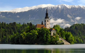 lake, Slovenia, church, temple, building, water, reflection, Mountains